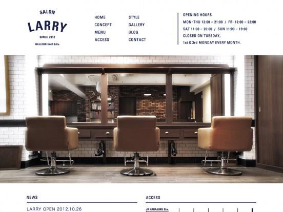 LARRY | 表参道 美容室 « 【S5-Style】Webデザインのリンク集・ポータルサイト