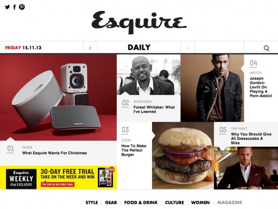 Esquire – The Smart Man's Guide to The Best in Style, Food, Gear, Culture and more