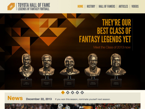 Toyota Hall of Fame: Legends of Fantasy Football