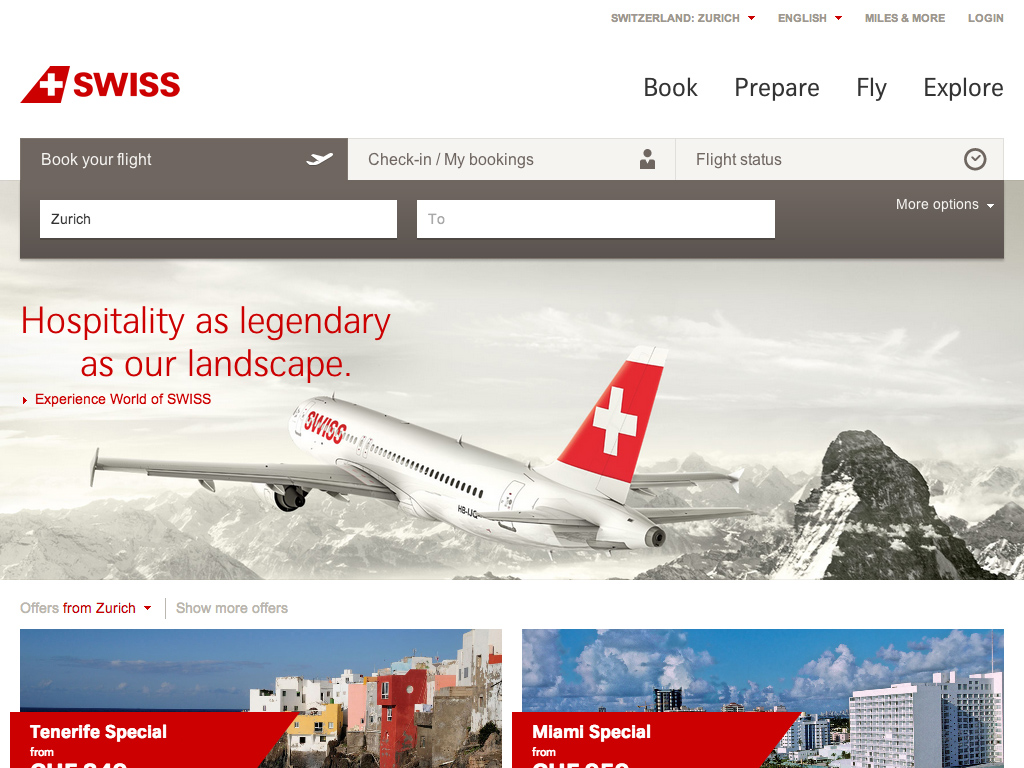 Book cheap flights and last-minute offers online | SWISS