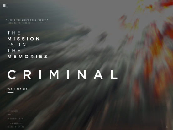 CRIMINAL – Official Movie Site – In Theaters Now